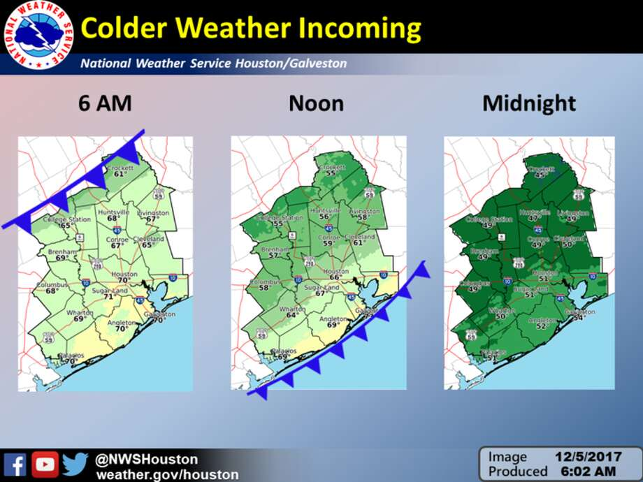 Dig out those jackets and hoodies, Houston. A cold front is slowly edging towards the city. According to the National Weather Service a cold front is moving from the north to the south which will drop temperatures in Houston 15 to 20 degrees within hours.See how crazy Texas weather can be in the following memes... Photo: National Weather Service