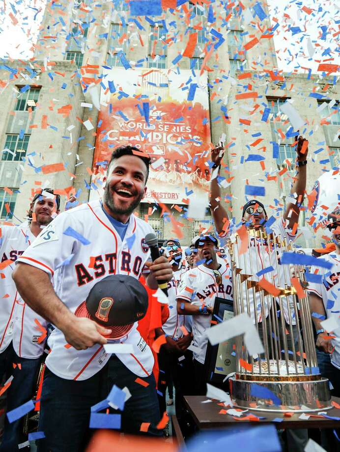 Houston Astros second baseman Jose Altuve tosses a World Series cap into the crowd during the Astros World Series championship celebration rally at City Hall on Friday, Nov. 3, 2017, in Houston. ( Brett Coomer / Houston Chronicle ) Photo: Brett Coomer, Staff / © 2017 Houston Chronicle
