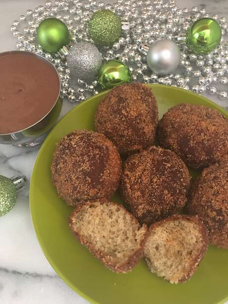 The Morris's buckwheat doughnuts with chocolate-Chartreuse anglaise Photo: Sarah Fritsche
