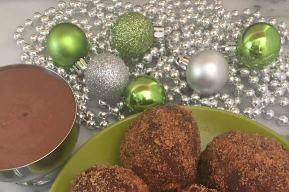 The Morris's buckwheat doughnuts with chocolate-Chartreuse anglaise