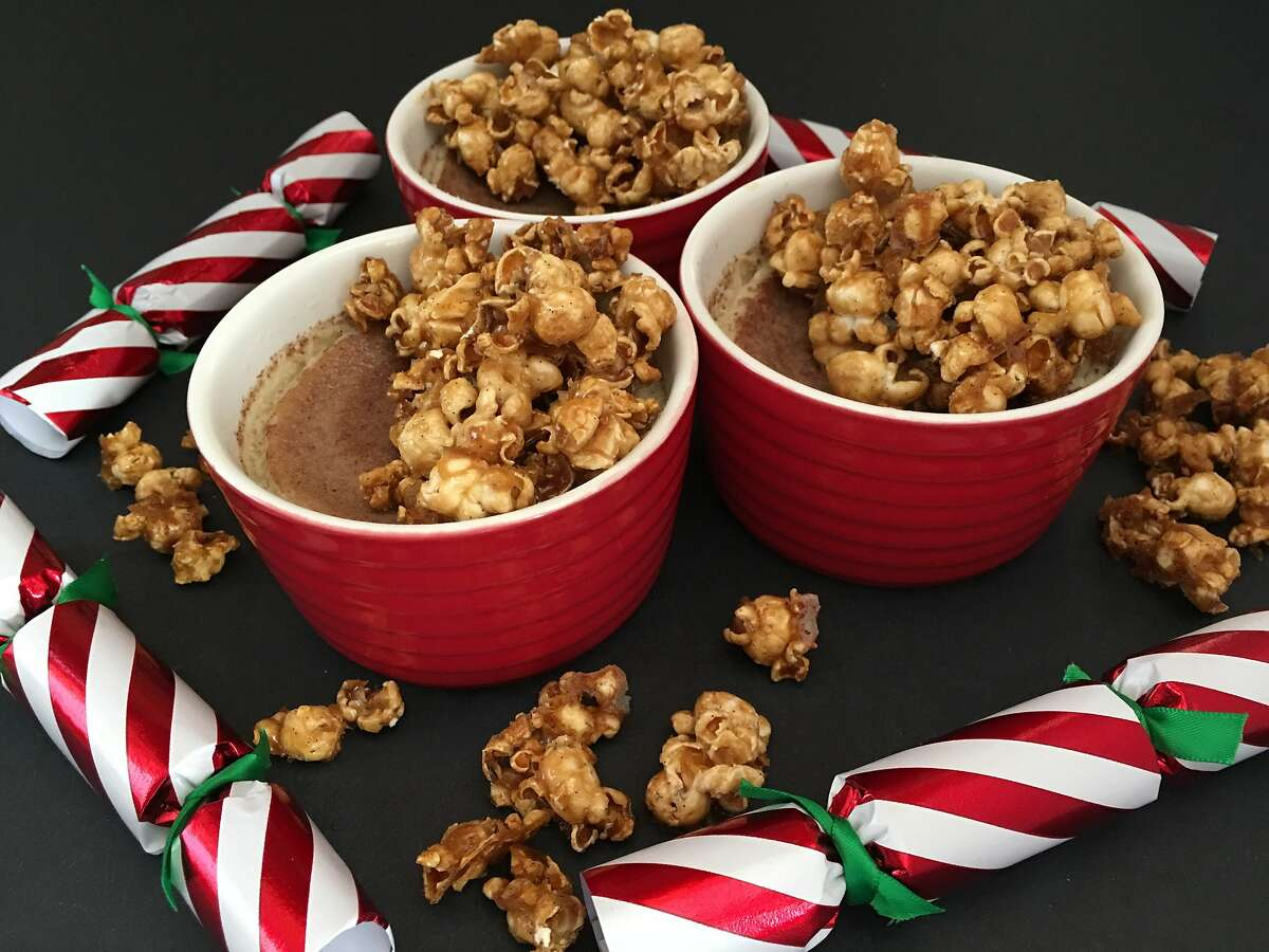 The Saratoga's spiked eggnog custard with rum-caramel popcorn.