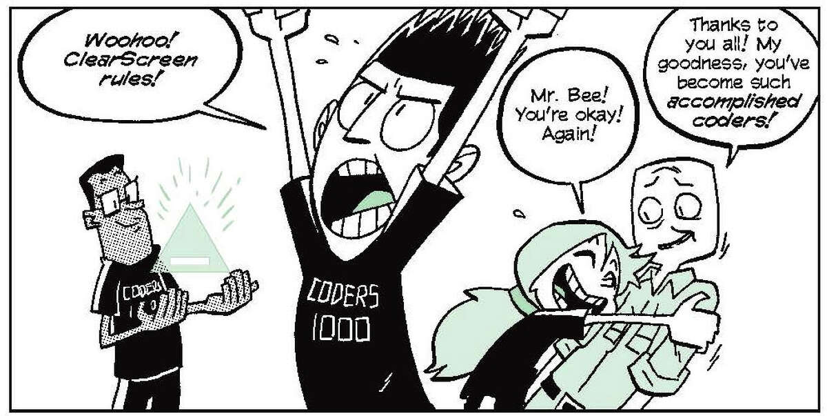 """A panel from """"Secret Coders: Robots & Repeats"""" by Gene Luen Yang and Mikes Holmes shows Eni, Josh and Hopper, three friends who love to code. """"Secret Coders"""" is a six-book series that encourages readers to learn to code."""