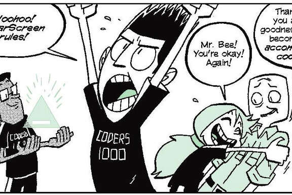 "A panel from ""Secret Coders: Robots & Repeats"" by Gene Luen Yang and Mikes Holmes shows Eni, Josh and Hopper, three friends who love to code. ""Secret Coders"" is a six-book series that encourages readers to learn to code."