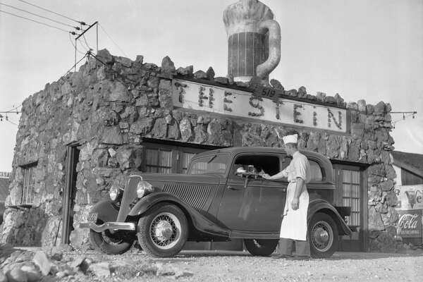 The novelty eating and beer rest stop for the weary transcontinental automobile driver called The Stein on Lincoln Highway in San Francisco in 1934.