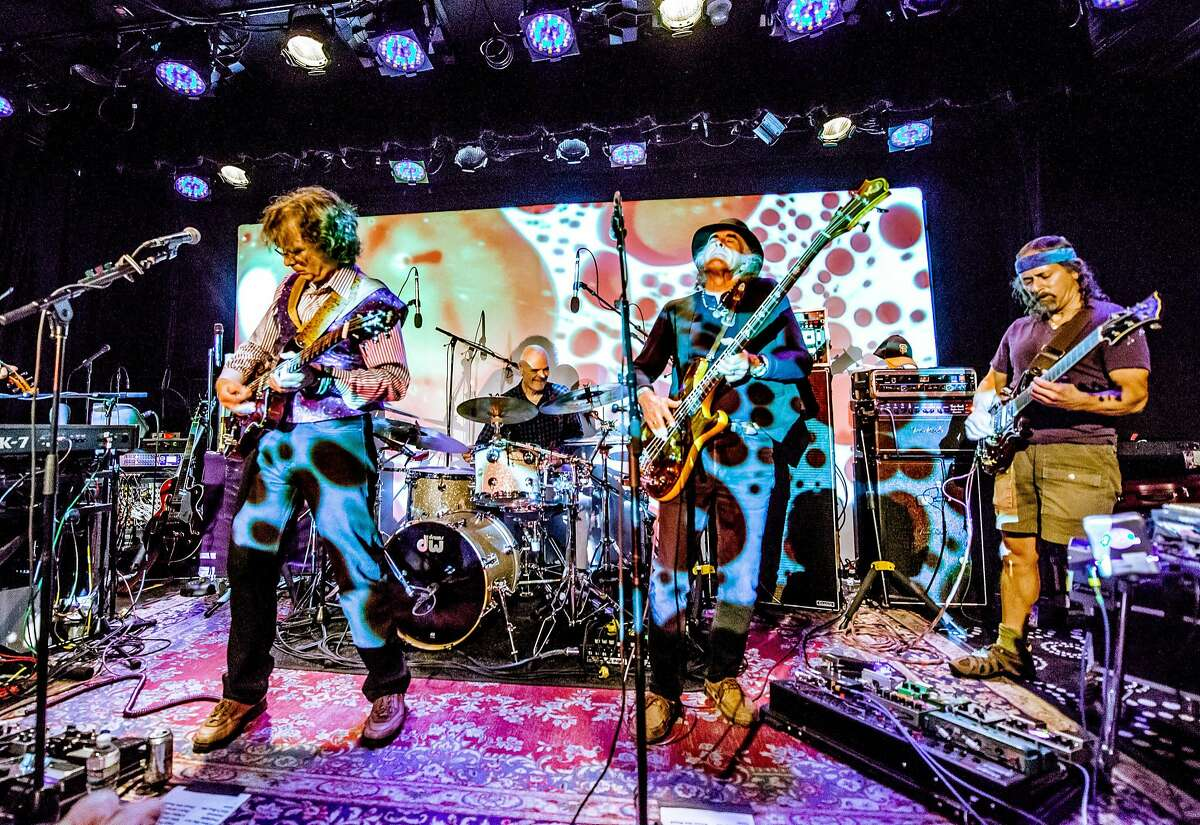 Moonalice at the Psychedelic Sunday at Sweetwater in April 2014. The band is in the midst of a Northeast tour, which will bring it to the Fairfield Theatre Company in Fairfield, Conn., on Tuesday, July 29, 2014. From left are Roger McNamee, John Molo, Pete Sears and Barry Sless.