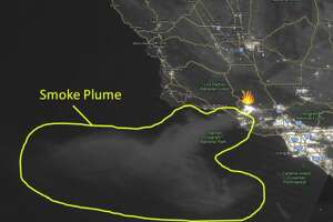 Satellite imagery captures a massive smoke plume off the coast of Southern California. The Thomas Fire in Ventura County is generating huge amounts of smoke and a bright moon allowed the satellite to capture a photo at 4:20 a.m. on Dec. 5, 2017.