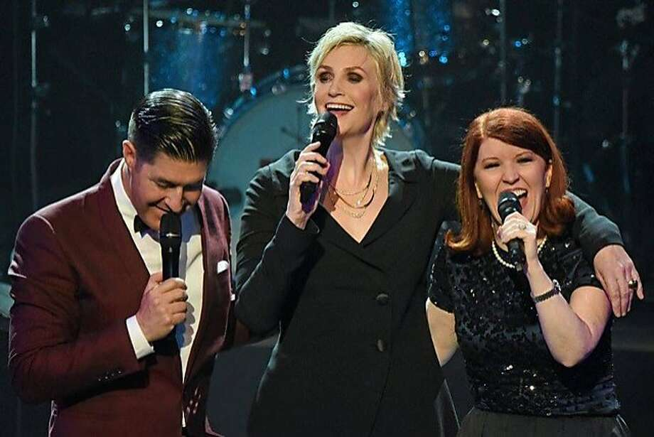 """Tim Davis (left) and Jane Lynch of """"Glee"""" sing with Kate Flannery. Photo: Courtesy Of Bay Area Cabaret"""