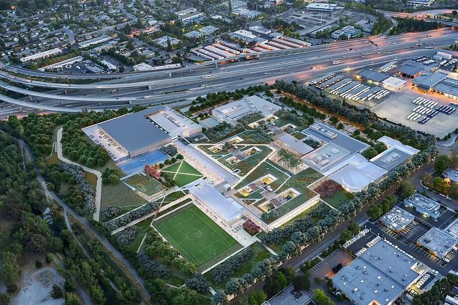 A rendering of Microsoft's new Silicon Valley campus in Mountain View, to be finished in 2019. Photo: Microsoft