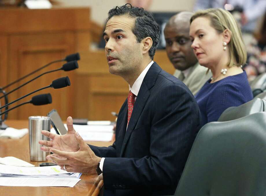 Land Commissioner George P. Bush, with Deputy Land Commissioner Anne Idsal, answers question Tuesday as the Senate Finance Committee takes up expenditures on the Alamo by the General Land Office. Photo: Tom Reel /San Antonio Express-News / 2017 SAN ANTONIO EXPRESS-NEWS