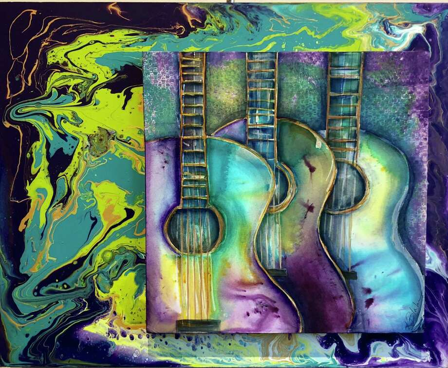 """A mixed media painting by Karen Blake, titled """"Psychedelic Serenade,"""" which is on display this month at the Conroe Art League's Gallery at the Madeley Building in downtown Conroe."""