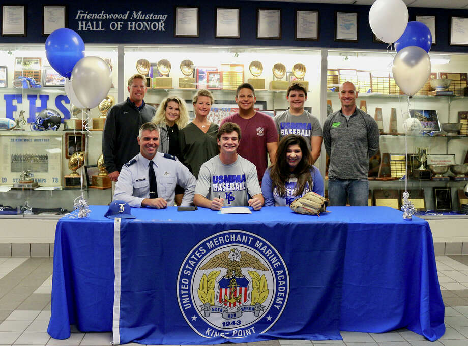 Friendswood baseball player Johnnie Nemecek has signed a national letter of intent with the United States Merchant Marine Academy. He was joined at the signing by parents John and Diane, brother Jackson, Pamela Redpath and FHS coach Steve Hecker. Photo: Courtesy Photo