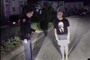 A screen grab taken from a San Antonio Police Department in-car video shows Kevin Wolff during a sobriety check and subsequently being arrested on DWI charges on July 31, 2016.