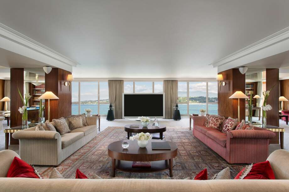 The vast living room in the suite looking over views of Lake Geneva and comes with a private chef and butler. Photo: Matteo Barro