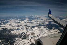 DENVER, CO - APRIL 16:  The Rocky Mountains are coated in a thick layer of late spring snow as viewed from 34,000 feet on April 16, 2017, west of Denver, Colorado. Near Golden, 23 inches of snow fell on April 7, with the ski resorts around Aspen, Vail and Frisco also receiving more than 20 inches of snow. (Photo by George Rose/Getty Images)