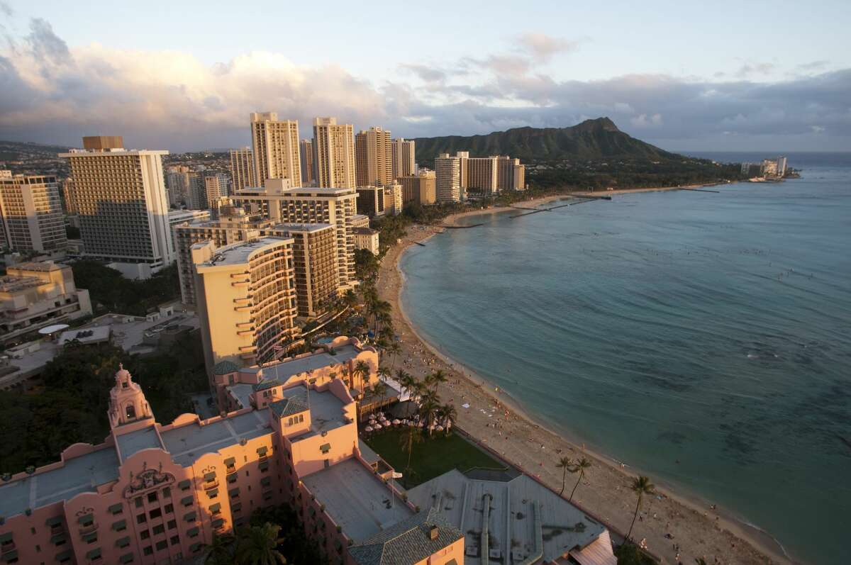 Panoramic and aerial view of Waikiki Beach, Oahu, Hawaii.