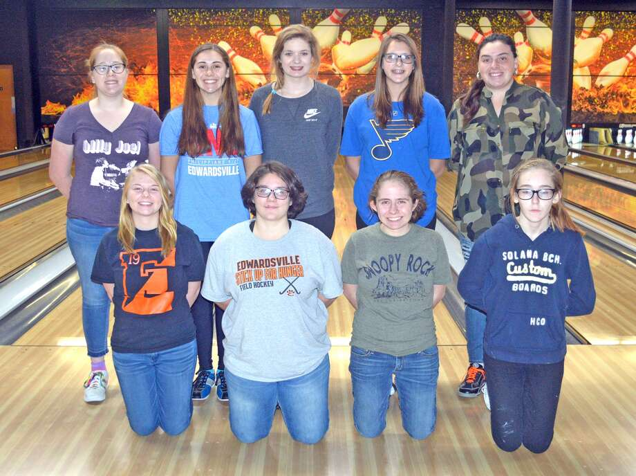 Members of the Edwardsville girls' bowling team are, front row from left, Amy Malcharek, Madeline Misukonis, Rachel McTague and Angel Jenkins. In the back row, from left to right, are Sam Linck, Maren McSparin, Brandy Page, Rylee Langendorf and Sydney Sahuri. Christina Mills and Abby Sherrill are not pictured.