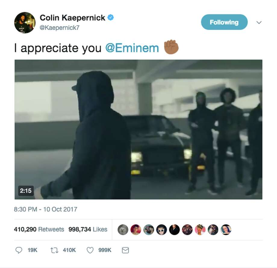 "Colin Kaepernick's tweet in support of rapper Eminem placed third on Twitter's list of ""most retweeted athlete tweets."" Photo: Twitter Screen Grab"