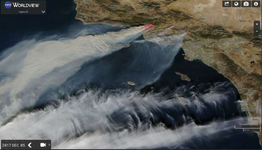 Satellite imagery from NASA taken on Dec. 5, 2017, shows the smoke plumes generated by the Southern California wildfires. Photo: NASA WorldView
