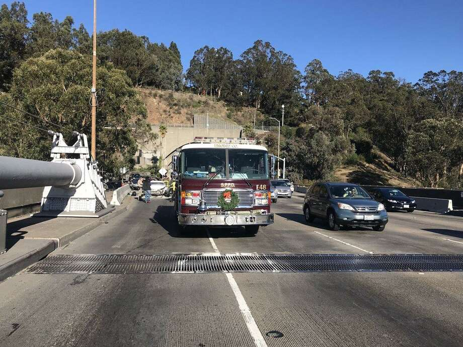 Two lanes were shut down on westbound I-80 near Treasure Island on Tuesday at the start of the afternoon commute due to a four car crash, officials said.