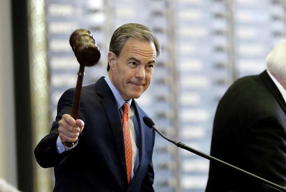 FILE - In this July 18, 2017, file photo, Texas Speaker of the House Joe Straus, R-San Antonio, calls the House of Representatives to order in Austin, Texas. Straus, a powerful moderate voice that kept the country's largest conservative state from moving even father to the right, abruptly announced Wednesday, Oct. 25, 2017, that he won't seek re-election. (AP Photo/Eric Gay, File) Photo: Eric Gay, STF / Associated Press / Copyright 2017 The Associated Press. All rights reserved.