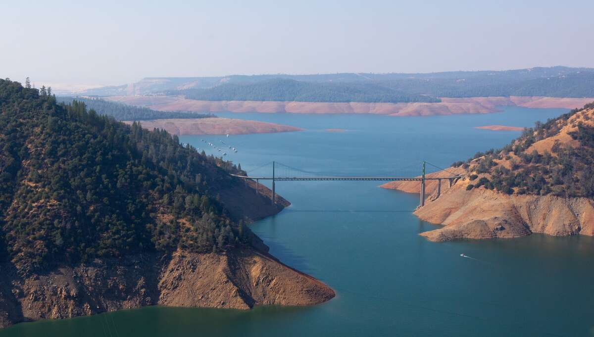 Lake Oroville at 34 percent capacity 57 percent of the historical average Photo taken Nov. 1, 2017 An aerial view of Bidwell Bar Bridge