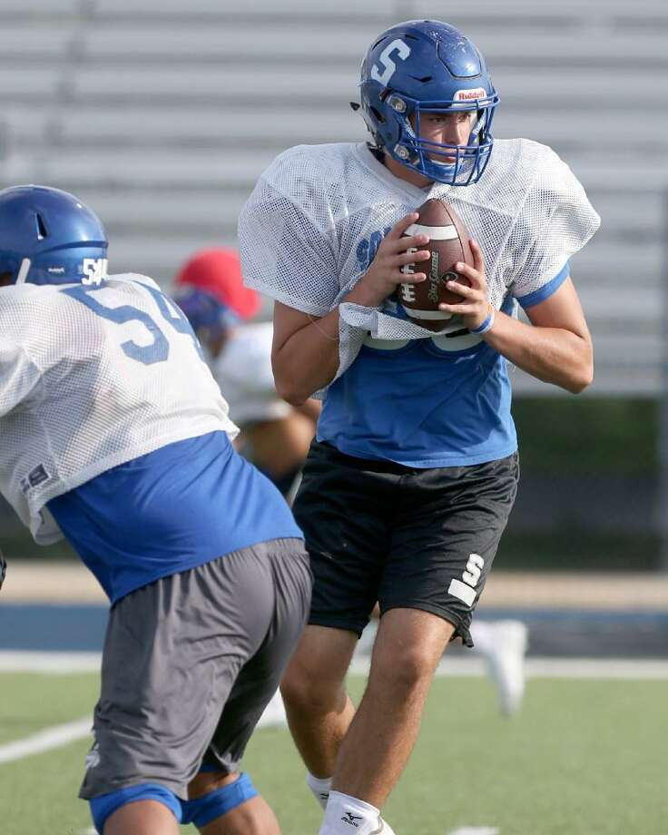 Somerset quarterback Zadock Dinkelmann runs through drills Wednesday, Aug. 16, 2017 during team practice at Somerset High School. Click through for a look at the other rising star athletes in San Antonio high school sports this season. Photo: William Luther /Express-News