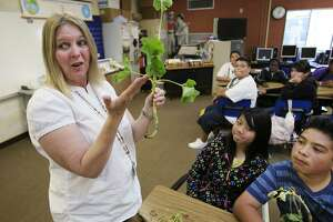 FILE - In this May 10, 2011, file photo, Van Buren Elementary school teacher Debra Keyes teaches a class in Stockton, Calif. A group of prominent lawyers representing teachers and students from poor performing schools filed a lawsuit against the state of California on Tuesday, Dec. 5, 2017, arguing that the state has done nothing about a high number of school children who do not know how to read. Van Buren Elementary School is among the plaintiffs.  (AP Photo/Paul Sakuma, file)