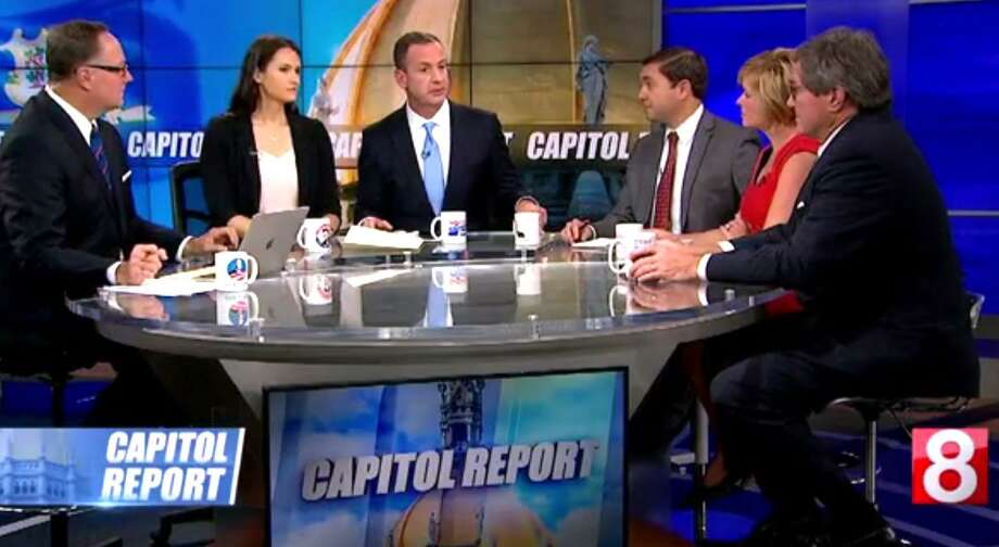 "Roy Occhiogrosso, third from left, and Andrew Doba, third from right, one-time aides to Gov. Dannel P. Malloy, debate MGM's proposed $675 million Bridgeport casino on the Sunday, Sept. 24, 2017, political talk show, ""Capitol Report,"" on WTNH Channel 8. Occhiogrosso is the top lobbyist for MGM in the state, while Doba is the spokesman for a competing casino project of the Mashantucket and Mohegan tribes, the operators of Foxwoods and Mohegan Sun. Photo: Contributed Photo / Contributed Photo / Connecticut Post Contributed"