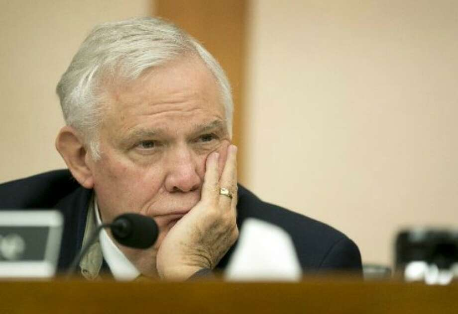 Tom Luce of Dallas, shown here at a 2014 state hearing, later made a claim about the paucity of Texas high school graduates getting more education. PolitiFact Texas found Luce's claim Mostly False (Jay Janner, Austin American-Statesman).