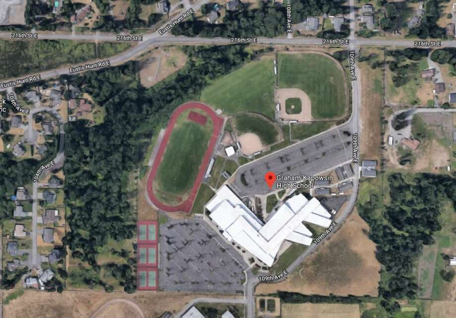 The Pierce County Sheriff's Department reported that two students were shot at Graham-Kapowsin High School in Graham. One student was found near the football field and another in a locker room, reports say. Photo: Google Maps