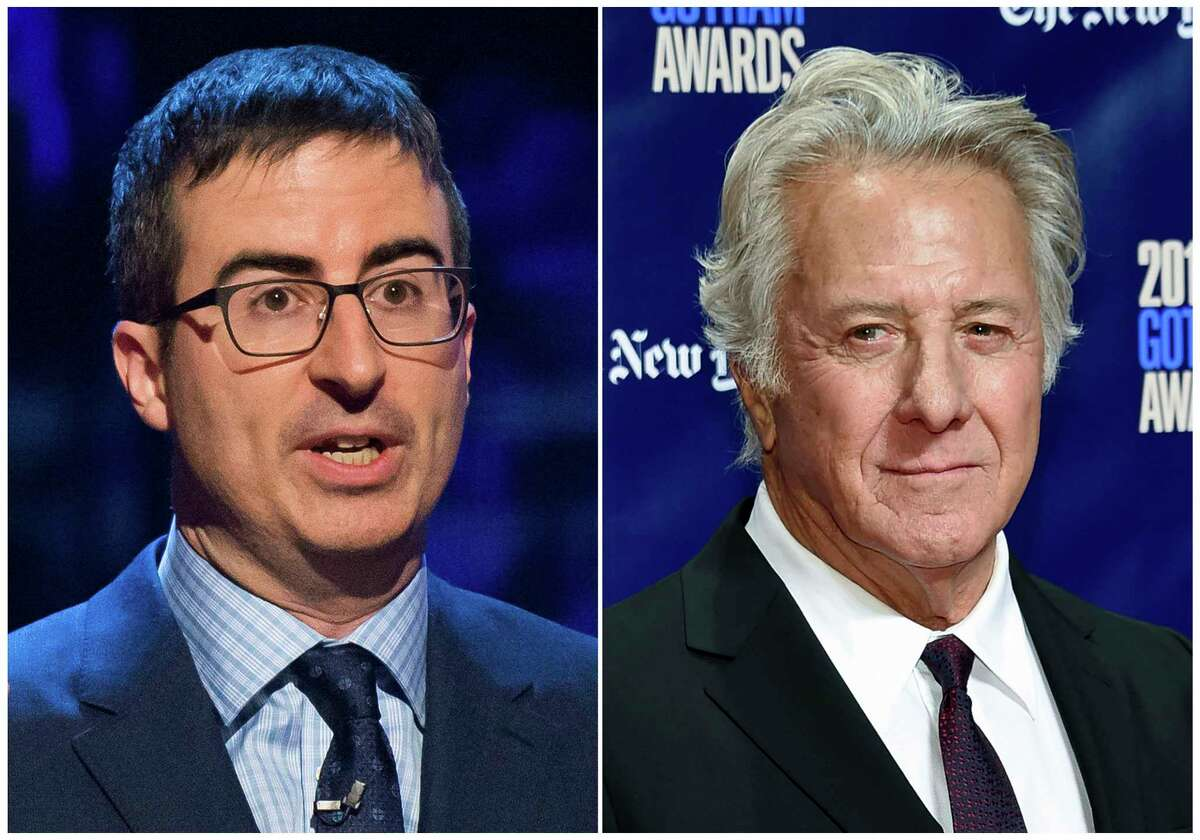 In this combination photo, John Oliver appears at the Stand Up for Heroes event in New York on Feb. 28, 2015,, left, and actor Dustin Hoffman attends the 27th annual Independent Film Project's Gotham Awards in New York on Nov. 27, 2017. Oliver confronted Hoffman about allegations of sexual harassment during a 20th-anniversary screening panel for the film