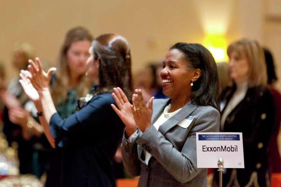 Karen Moreno with ExxonMobile claps during The Woodlands North Houston Conference for Women, Thursday, Nov., 9, 2017, in The Woodlands.
