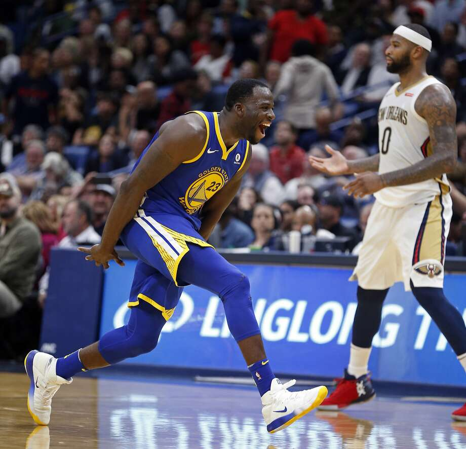 Golden State Warriors forward Draymond Green (23) reacts after making a 3-point basket in the second half of an NBA basketball game against the New Orleans Pelicans in New Orleans, Monday, Dec. 4, 2017. (AP Photo/Gerald Herbert) Photo: Gerald Herbert, Associated Press