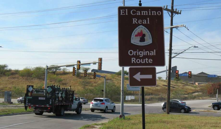 A sign points to the original route for the Camino Real at Nacogdoches and Naco Perrin in North San Antonio. Photo: Terry Scott Bertling / San Antonio Express-News
