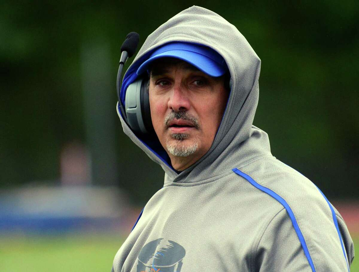 Danbury Head Coach Alex Trasacco during high school football action against St. Joseph in Trumbull, Conn. on Saturday October 3, 2015.