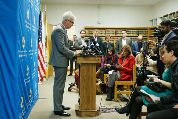 District Attorney George Gascon speaks during a press conference regarding the Kate Steinle verdict on Tuesday, December 5, 2017 in San Francisco, Calif.