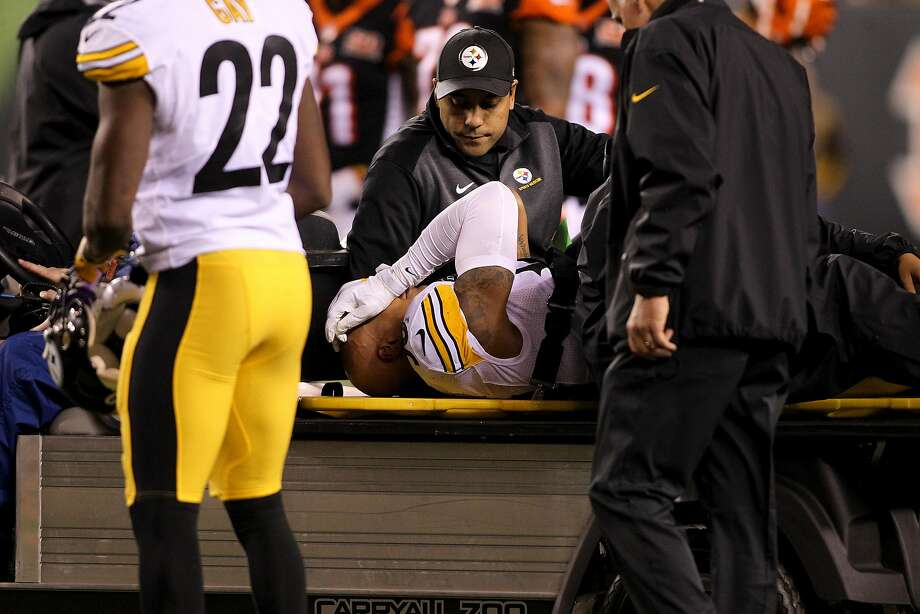 Pittsburgh's Ryan Shazier carted off the field after an injury early in the Steelers' win at Cincinnati on Monday night. Photo: John Grieshop, Getty Images