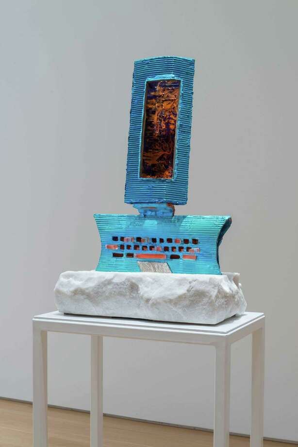 Andrzej Zielinski,Refusing to Fall Asleep Again?, 2013-15, Macedonia sivec marble, acrylic sheeting, paint, 28 ½ x 20 x 12 inches, is part of a new show at the Mattatuck Museum in Waterbury. Photo: Contributed Photo/Not For Resale