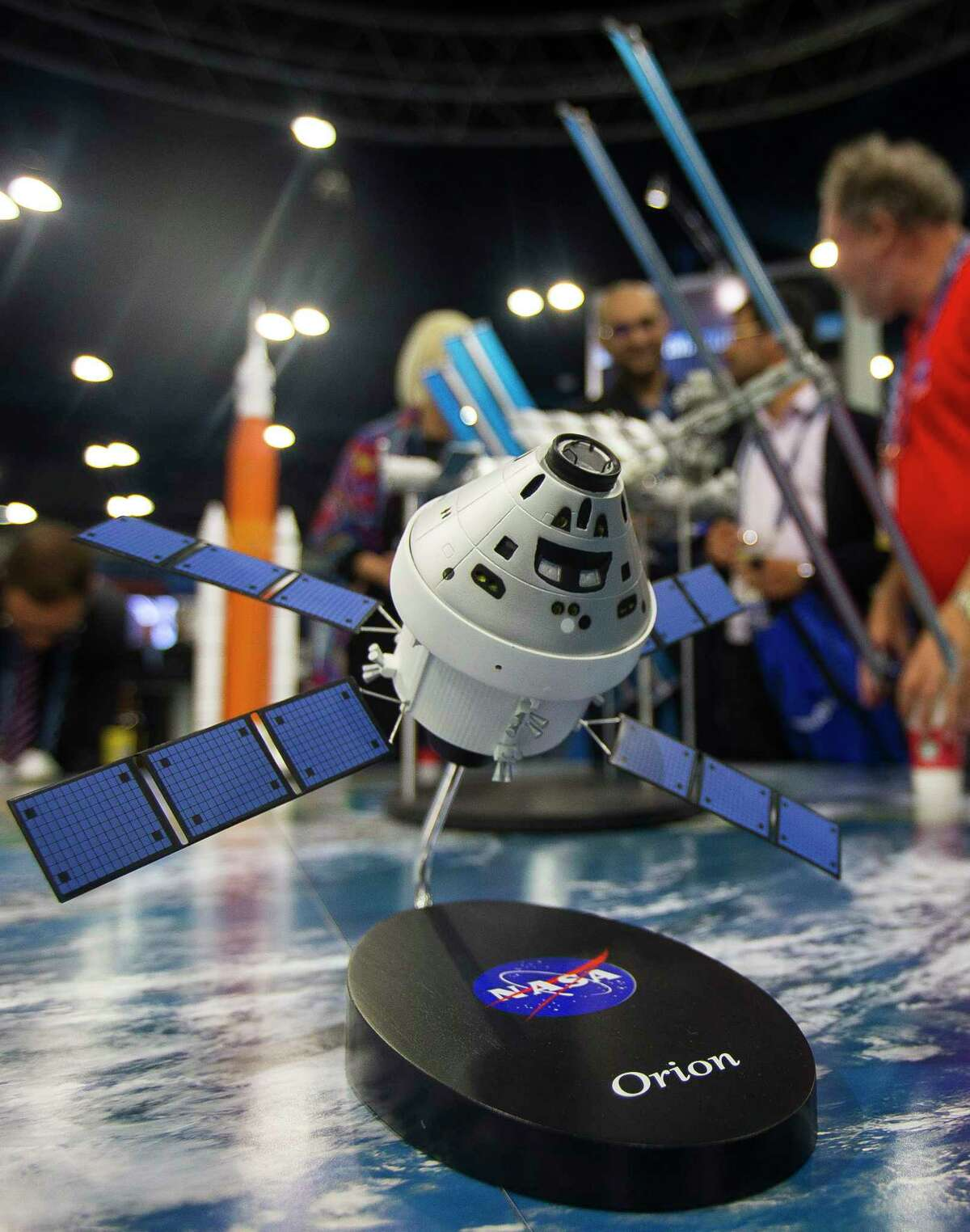 A model of the Orion capsule was among the sights at the SpaceCom conference last week at the George R. Brown center.