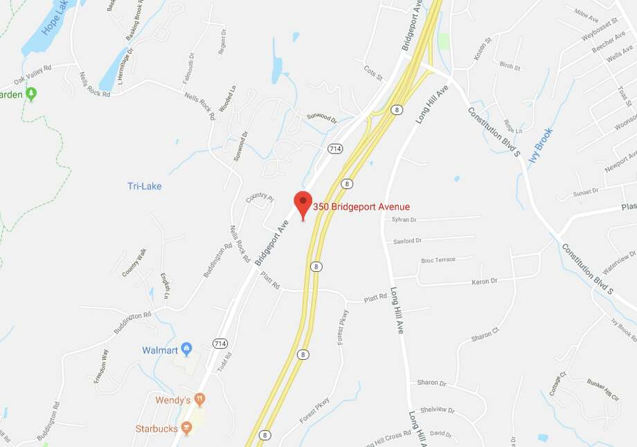 Shelton police said a Waterbury man has died after being stuck by a car in the area of 350 Bridgeport Avenue on December 5, 2017. Photo: Google Maps