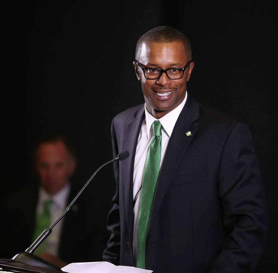 New University of Oregon NCAA college football coach Willie Taggart takes questions during an introductory press conference in Eugene, Ore., Thursday Dec. 8, 2016.  (Chris Pietsch/The Register-Guard via AP) Photo: Chris Pietsch, MBI / 2016 The Register-Guard