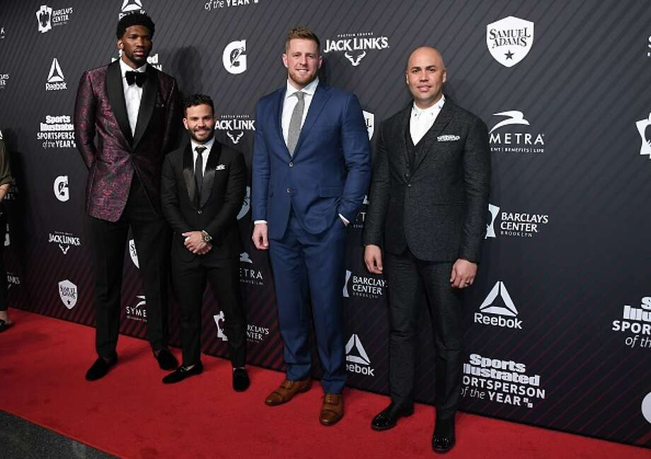 At seven feet tall, Joel Embiid (left) towers over 5-foot-6 Jose Altuve at the 2017 Sports Illustrated Sportsperson of the Year Award Show in New York City. Next to Altuve is J.J. Watt and Carlos Beltran.See more images from the 2017 Sports Illustrated Sportsperson of the Year Award Show in the gallery ahead. Photo: AFP Contributor/AFP/Getty Images