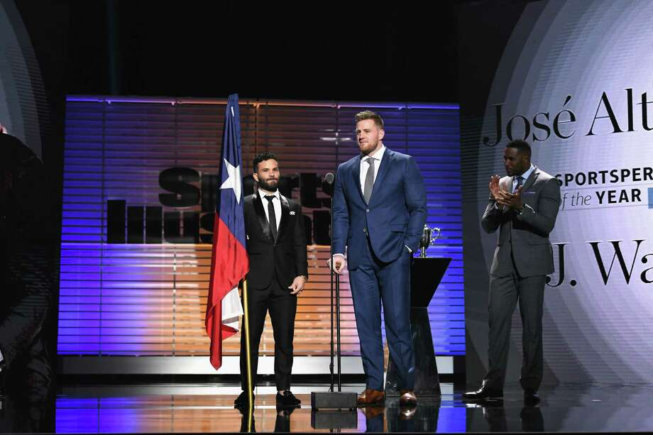 PHOTOS: A look at J.J. Watt and Jose Altuve on the red carpet and on stage at the Sports Illustrated award showNEW YORK, NY - DECEMBER 05:  J.J. Watt (R) and Jose Altuve receive the Sportsperson of the Year Award during SPORTS ILLUSTRATED 2017 Sportsperson of the Year Show on December 5, 2017 at Barclays Center in New York City.Browse through the photos above for a look at J.J. Watt and Jose Altuve on the red carpet and on stage Tuesday night. Photo: Slaven Vlasic, Getty Images For Sports Illustrated / 2017 Getty Images