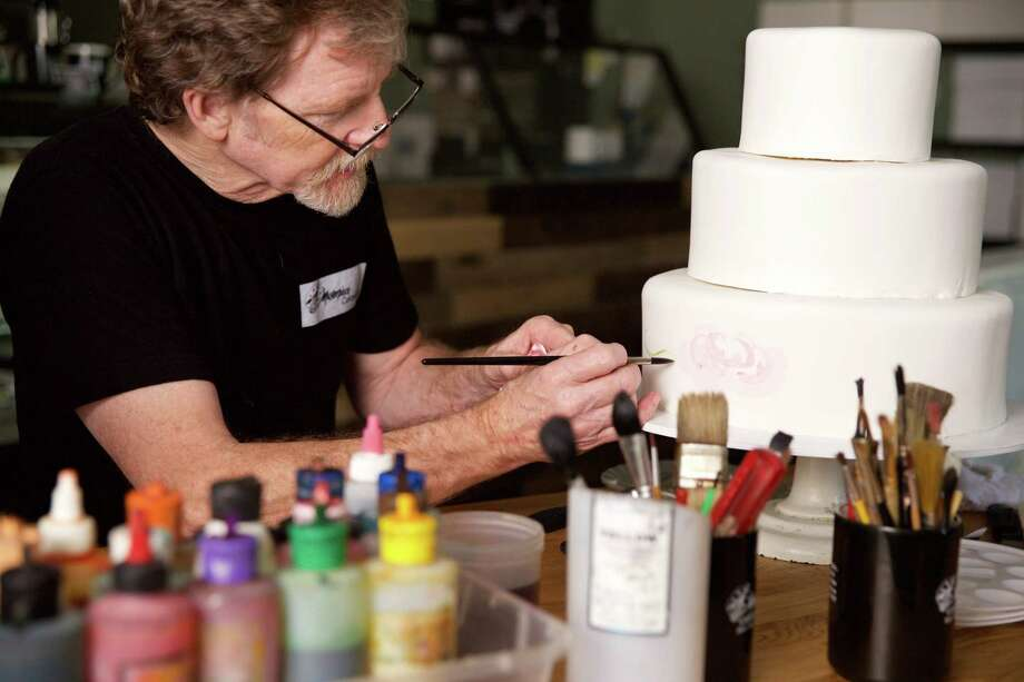 """This undated handout photo obtained December 4, 2017 courtesy of Alliance Defending Freedom shows baker Jack Phillips at Masterpiece Cakeshop in Lakewood, Colorado. As the US Supreme Court prepares to hear arguments on December 5, 2017 in the highly anticipated """"gay wedding cake"""" case, all eyes are once again on Justice Anthony Kennedy, the fulcrum upon which the bench has turned for a decade.The case, which pits Christian conservatives against progressives and the LGBT community, concerns a Colorado baker who, due to his religious beliefs, refused to bake a wedding cake for a gay couple. The Trump administration, around twenty American states, dozens of members of Congress and countless Christian and conservative pressure groups have backed Jack Phillips, the baker.  / AFP PHOTO / Alliance Defending Freedom AND AFP PHOTO / Eric BARADAT AND Bruce Ellefson / RESTRICTED TO EDITORIAL USE - MANDATORY CREDIT """"AFP PHOTO / ALLIANCE DEFENDING FREEDOM/BRUCE ELLEFSON"""" - NO MARKETING NO ADVERTISING CAMPAIGNS - DISTRIBUTED AS A SERVICE TO CLIENTS  ERIC BARADAT,BRUCE ELLEFSON/AFP/Getty Images Photo: ERIC BARADAT / AFP or licensors"""