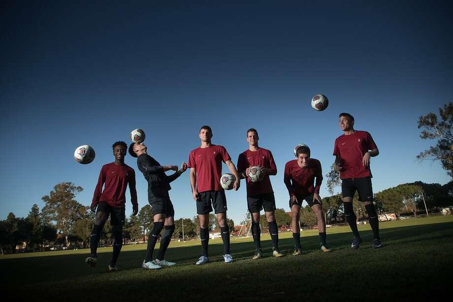 From left: seniors Bryce Marion, Nico Corti, Tomas Hilliard-Arce, Foster Langsdorf, Drew Skundrich and Corey Baird. Photo: Paul Kuroda, Special To The Chronicle