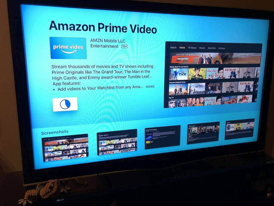 "Find the Amazon video app by searching for ""Amazon Prime Video"" on the Apple TV's app store. Photo: Dwight Silverman / Houston Chronicle"