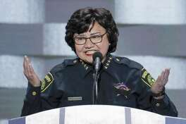 In this July 28, 2016, file photo, Dallas County Sheriff Lupe Valdez speaks during the final day of the Democratic National Convention in Philadelphia. Valdez, Texas' first Hispanic female sheriff, announced Wednesday that she will run against Texas Republican Gov. Greg Abbott in 2018.