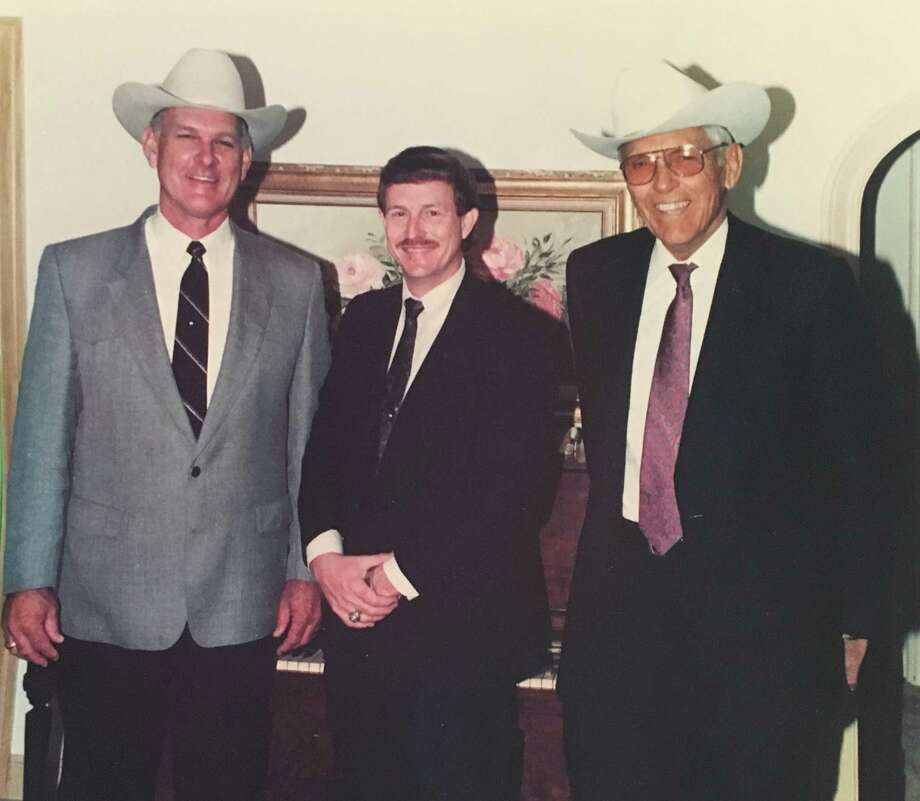 """Pictured are three former Montgomery County sheriffs. From left to right are Joe Corley, 1981 to 1993, Guy Williams, 1993 to 2005 and A.E. """"Gene"""" Reaves from 1961 to 1981. Reaves has the distinction of being the longest-serving sheriff in Montgomery County history."""