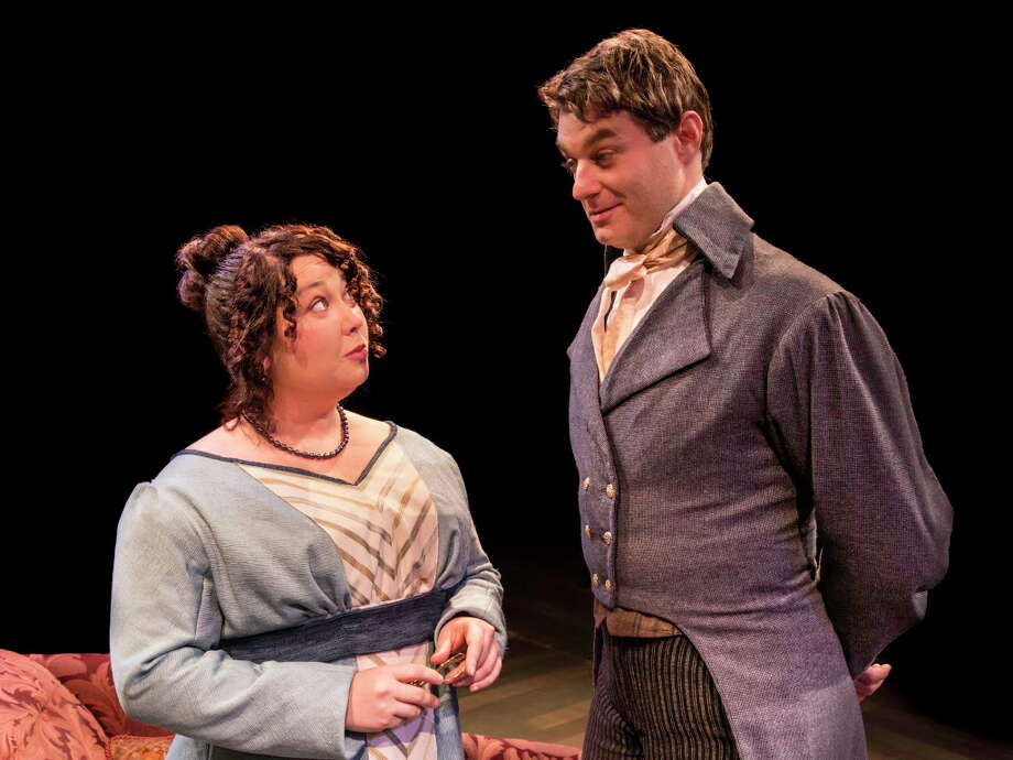 "Chaney Moore and Spencer Plachy in Main Street Theater's ""Miss Bennet: Christmas at Pemberley"" Photo: Blueprint Film Co."