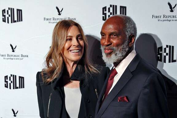 Kathryn Bigelow, left, poses with john a. powell during the SFFILM Awards Night at the Palace of Fine Arts Exhibition Center in San Francisco, Calif., on Tuesday, December 5, 2017.  Kathryn Bigelow was awarded the Irving M. Levin Award for Film Direction, Kate Winslet the Peter J. Owens Award for Acting, and Emily V. Gordon and Kumail Nanjiani the Kanbar Award for Storytelling.